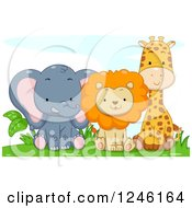 Clipart Of A Cute Baby Elephant Lion And Giraffe Sitting Royalty Free Vector Illustration