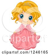 Clipart Of A Cute Blond Princess Girl In A Pink Dress Royalty Free Vector Illustration