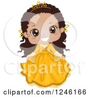 Clipart Of A Cute Bkacj African Princess Girl In A Yellow Dress Royalty Free Vector Illustration