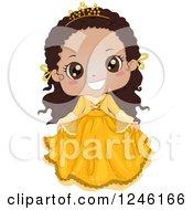 Cute Bkacj African Princess Girl In A Yellow Dress