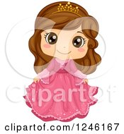 Clipart Of A Cute Brunette Princess Girl In A Pink Dress Royalty Free Vector Illustration by BNP Design Studio