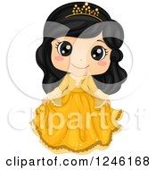 Clipart Of A Cute Asian Princess Girl In A Yellow Dress Royalty Free Vector Illustration