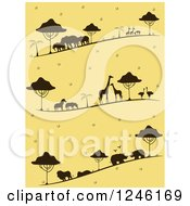 Clipart Of A Yellow Background With Silhouetted Safari Animals Royalty Free Vector Illustration by BNP Design Studio