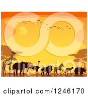 Clipart Of Silhouetted Safari Animals Walking Against An Orange Sunset Royalty Free Vector Illustration