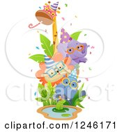 Clipart Of African Safari Party Animals Around A Sign Royalty Free Vector Illustration by BNP Design Studio