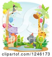 Clipart Of African Safari Party Animals At A Watering Hole Royalty Free Vector Illustration by BNP Design Studio