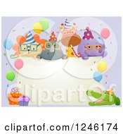 Clipart Of Safari Party Animals Around A Blank Sign Royalty Free Vector Illustration by BNP Design Studio