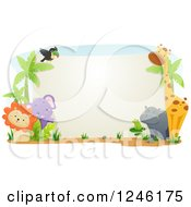 Clipart Of Safari Animals Around A Blank Sign Royalty Free Vector Illustration