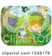 Clipart Of African Safari Animals In A Jungle Royalty Free Vector Illustration