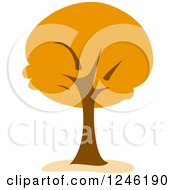 Clipart Of A Tree With Orange Foliage Royalty Free Vector Illustration