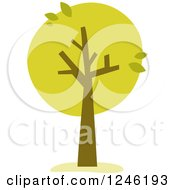 Clipart Of A Tree With Orange Foliage And Leaves Royalty Free Vector Illustration