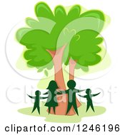 Clipart Of A Silhouetted Family Around A Tree Royalty Free Vector Illustration