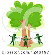 Clipart Of Three People Circling A Tree Royalty Free Vector Illustration