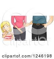 Clipart Of A Worried Daughter Listening To Her Parents Arguing Royalty Free Vector Illustration