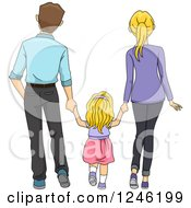 Clipart Of A Rear View Of A Daughter Walking And Holding Hands With Her Parents Royalty Free Vector Illustration