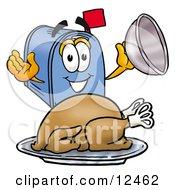 Poster, Art Print Of Blue Postal Mailbox Cartoon Character Serving A Thanksgiving Turkey On A Platter