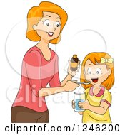 Clipart Of A Caucasian Mother Giving Her Daughter Vitamins Or Supplements Royalty Free Vector Illustration