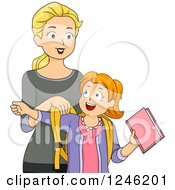 Clipart Of A Caucasian Mother Helping Her Daughter Get Ready For School Royalty Free Vector Illustration