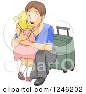 Clipart Of A Young Father Crouching To Hug His Daughter Goodbye Before Leaving On A Trip Royalty Free Vector Illustration