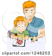 Clipart Of A Caucasian Father Coloring With His Son Royalty Free Vector Illustration