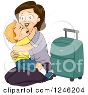 Clipart Of A Mom Kneeling To Hug Her Crying Son Goodbye Before Traveling Royalty Free Vector Illustration