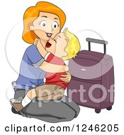 Clipart Of A Mom Kneeling To Hug Her Son Goodbye Before Traveling Royalty Free Vector Illustration