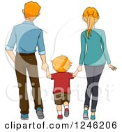 Clipart Of A Rear View Of A Caucasian Boy And His Parents Holding Hands And Walking Royalty Free Vector Illustration