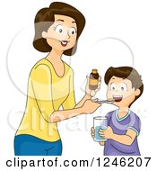 Clipart Of A Mother Giving Her Son Medicine Or Vitamin Supplements Royalty Free Vector Illustration