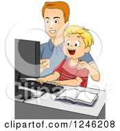 Clipart Of A Caucasian Father And Son Using A Computer Royalty Free Vector Illustration