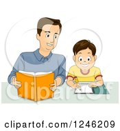 Happy Father Helping His Son With Homework