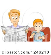 Clipart Of A Father And Son Reading News On A Tablet And On Paper Royalty Free Vector Illustration by BNP Design Studio