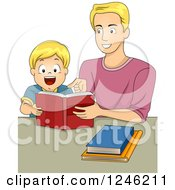 Clipart Of A Happy Fathera Nd Son Reading A Book Royalty Free Vector Illustration