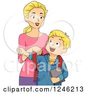 Clipart Of A Blond Mother Putting Her Sons Backpack On Royalty Free Vector Illustration