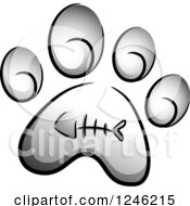 Clipart Of A Grayscale Cat Paw Print With A Fish Bone Royalty Free Vector Illustration