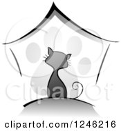 Clipart Of A Grayscale Kitty Cat Over A House And Paw Print Royalty Free Vector Illustration