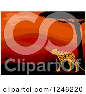 Clipart Of An African Cheetah And Red Sunset Royalty Free Vector Illustration