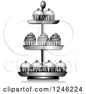 Clipart Of A Grayscale Cupcake Stand Royalty Free Vector Illustration by BNP Design Studio