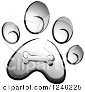 Clipart Of A Grayscale Dog Paw Print With A Bone Royalty Free Vector Illustration