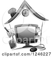 Clipart Of A Home Business With A Computer And Accessories Royalty Free Vector Illustration
