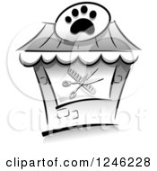Clipart Of A Grayscale Pet Salon Building Royalty Free Vector Illustration
