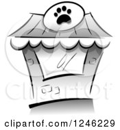 Clipart Of A Grayscale Pet Shop Building Royalty Free Vector Illustration