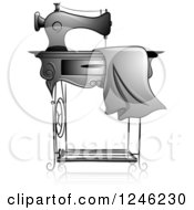 Clipart Of A Grayscale Sewing Machine With Fabric Royalty Free Vector Illustration by BNP Design Studio