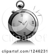 Clipart Of A Grayscale Stop Watch Royalty Free Vector Illustration
