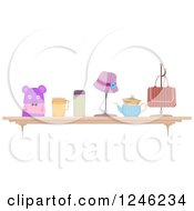 Clipart Of A Shelf Display Of Knitted Accessories Royalty Free Vector Illustration