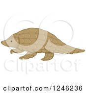 Clipart Of A Walking Pangolin Royalty Free Vector Illustration by BNP Design Studio