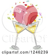 Clipart Of A Pair Of Love Birds On Cocktail Glasses Royalty Free Vector Illustration
