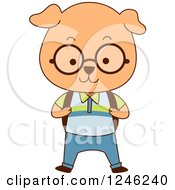 Clipart Of A Cute School Dog Boy Royalty Free Vector Illustration