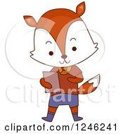Clipart Of A Cute School Fox Boy Royalty Free Vector Illustration by BNP Design Studio