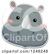 Clipart Of A Safari Zoo Animal Rhino Face Royalty Free Vector Illustration by BNP Design Studio