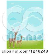 Clipart Of Deer With Birds In A Valley Royalty Free Vector Illustration by BNP Design Studio